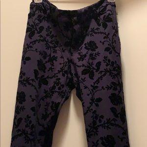 Navy Blue Pants with Black Velvet  Appliqués